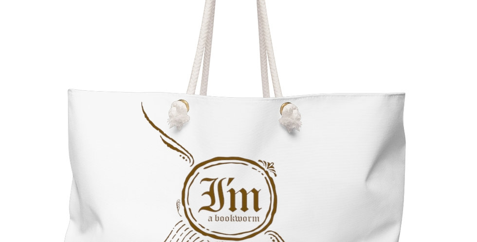 Weekender Bag - Bookworm (White) - Carrousel Collection