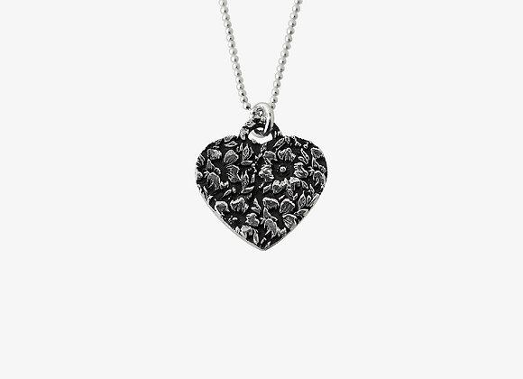 Ciondolo cuore fiorato 2cm - Flower Heart Pendant