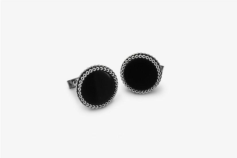 gemelli in argento con pietra nera