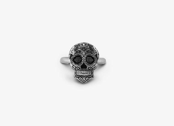 Anello Teschio Maya su fedina - Mayan Skull Ring - Mama Schwaz Gioielli in Argento Milano