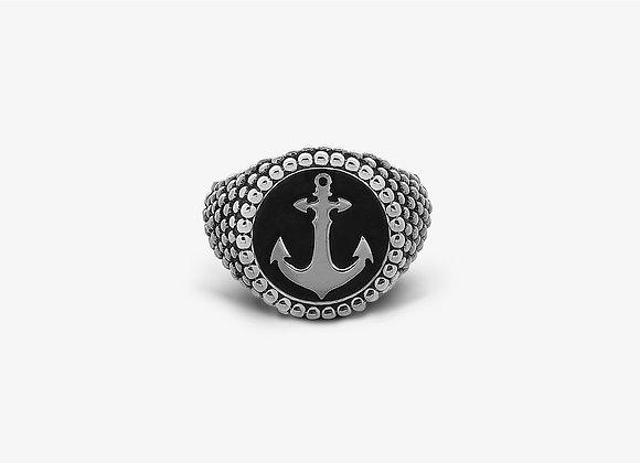 Anello Borchiato Tondo Grande con Ancora - Ancor Studded Ring - Mama Schwaz shop online Milano