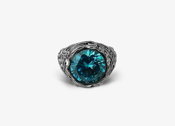 Anello Onde con pietra azzurra - Waves ring with light blue stone - Mama Schwaz shop online Milano