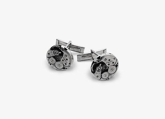Gemelli con Meccanismo di Orologio in argento