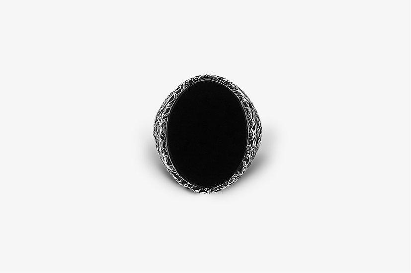 Anello Ovale Damascato Pasta Nera Argento