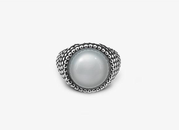 Anello borchiato con calcedonio Tondo - Studded Chalcedony Ring