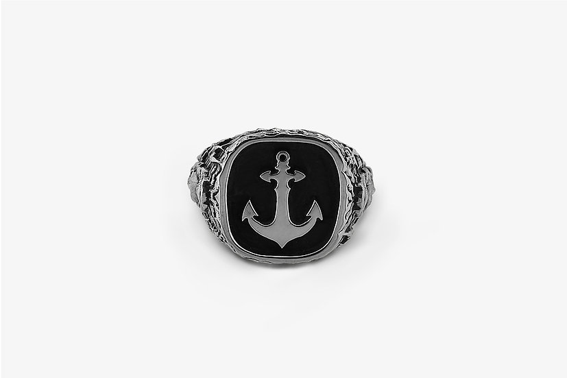 Anello Marinaio Teschio con Ancora - Sailor Man & Skull with Anchor Ring - Mama Schwaz Milano Gioielli