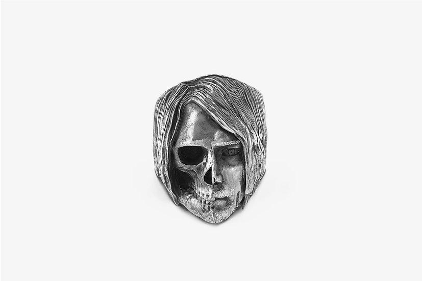 Anello Kurt Cobain Metà Teschio Argento - Mama Schwaz shop online Milano