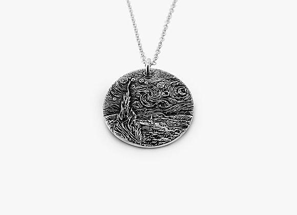 Ciondolo in argento raffigurante la Notte Stellata di Van Gogh by Mama Schwaz Milano