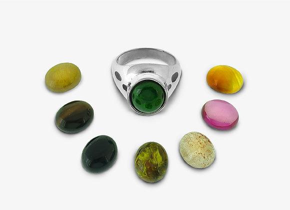 Anello Ovale con pietra dura - Stone Ring - Mama Schwaz Milano