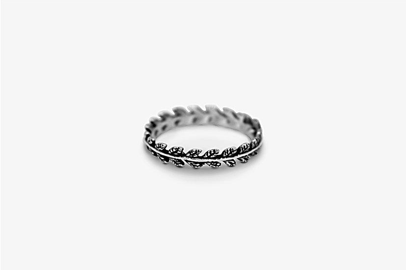 Crown Leaves Ring - Anello in argento 925, forma di ramo con foglie - Mama Schwaz Shop Milano