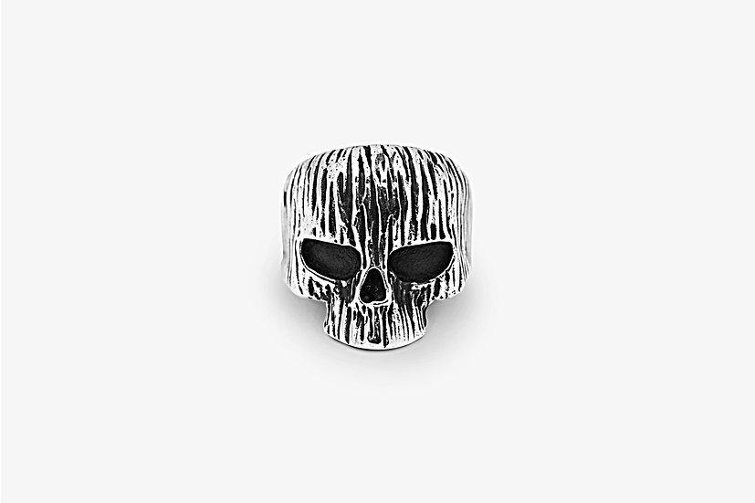"""Wood Skull Ring - Anello chevalier in argento 925, forma a teschio, decorazione esterna con effetto """"legno"""" - Mama Schwaz"""
