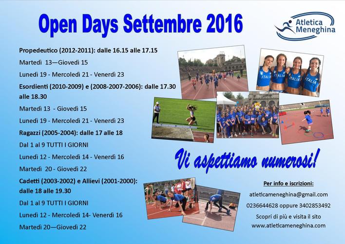 OPEN DAYS SETTEMBRE 2016 - VIENI A TROVARCI ALL'ARENA CIVICA!
