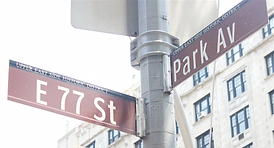 BRCA center address 77th and Park Avenue street sign