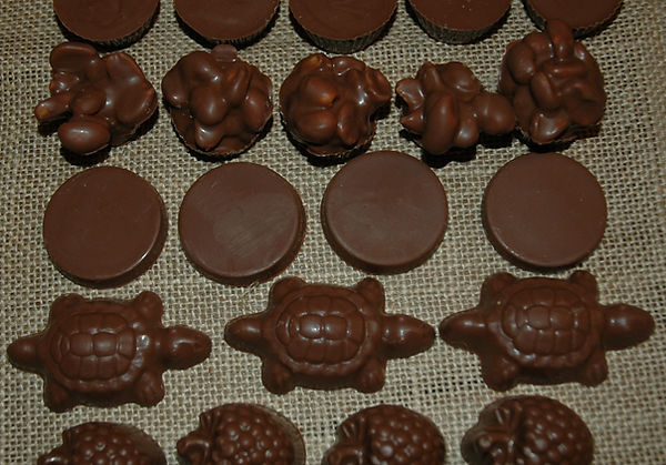 Turtles, caramels, peanutbutter cups, cream filled, mints, truffles