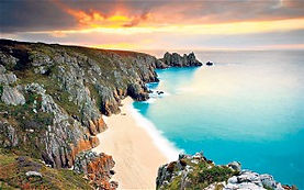 Pedn Vounder Beach and Logan's Rock Porthcurno