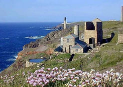 Cornish Tin Mine perched on a rugged Cornish cliff top in Springtime