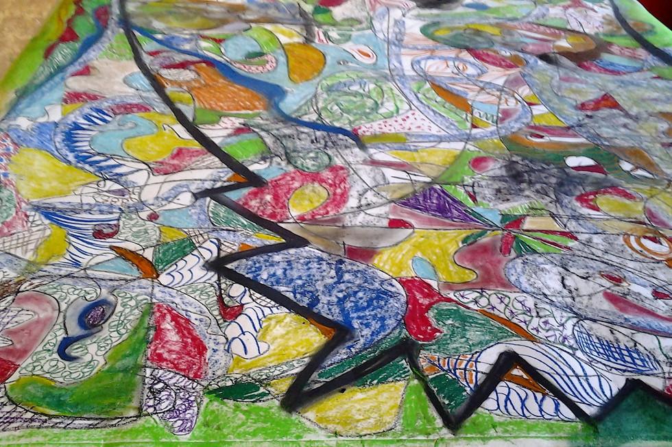 Gruppenmalerei Kunsttherapiesitzung