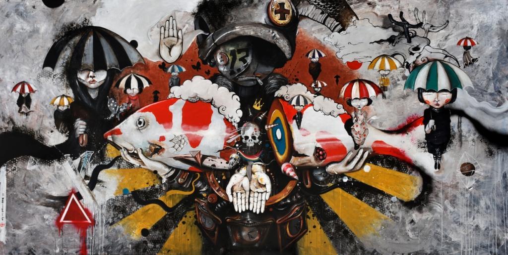 Oky Rey Montha - War of Umbrella -  150 x 300 cm - 2016