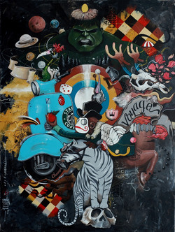 OKY REY MONTHA - VOYAGE - 200 x 150 cm - 2017 - Acrylic and Spraypaint on Canvas