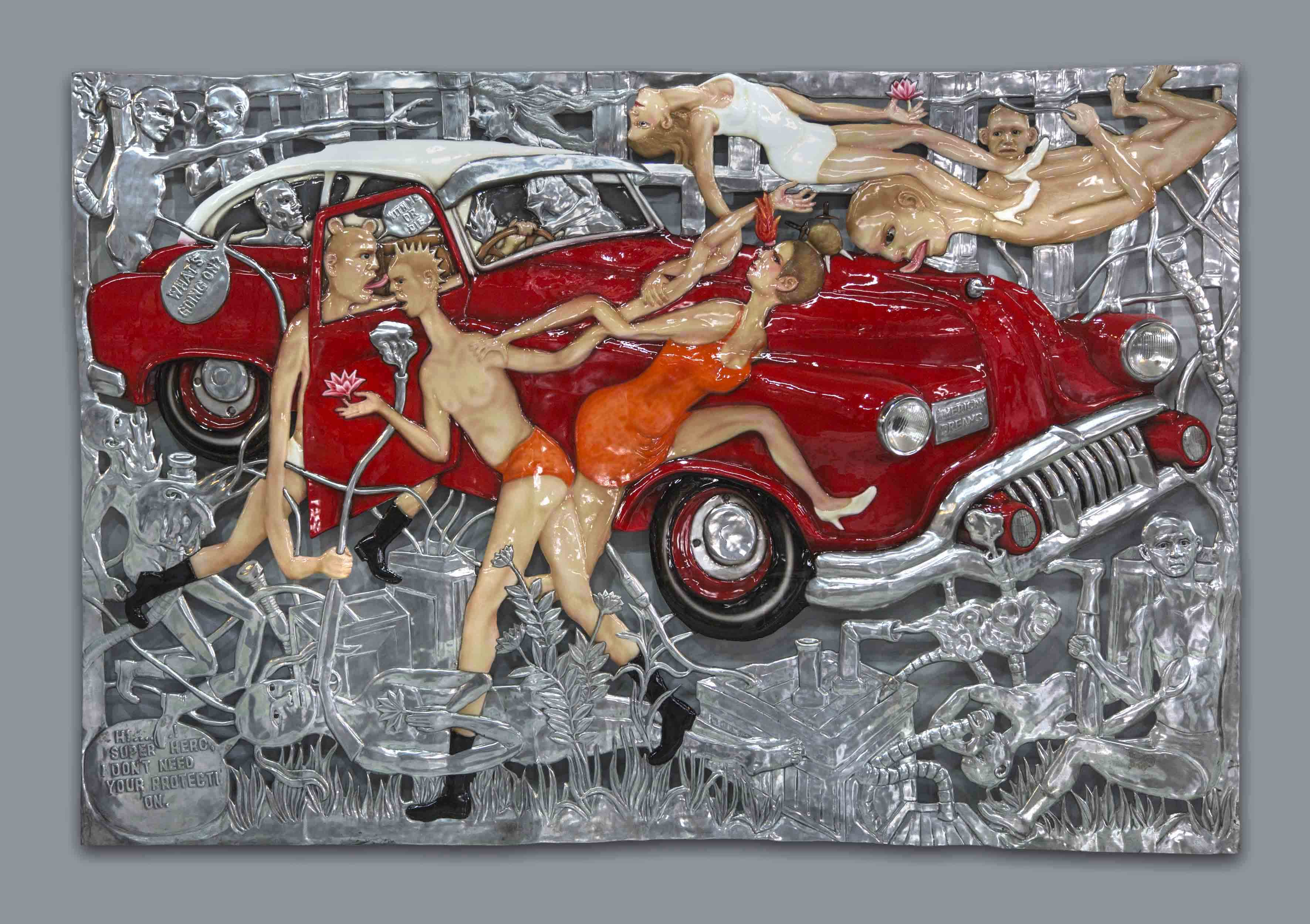 Entang Wiharso - Behind American  Dreams No.1 - 2012 - 2015 - 200 x 300 cm - Aluminum,Car Paint, Thr