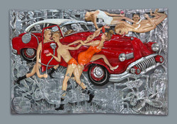 Behind American  Dreams No.1 - 2012 - 2015 - 200 x 300 cm - Aluminum,Car Paint, Thread,  Resin, Colo
