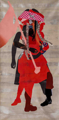 Sally Smart - The Exquisite Pirate  (Red-Flag-Silver) 182 x 91 cm
