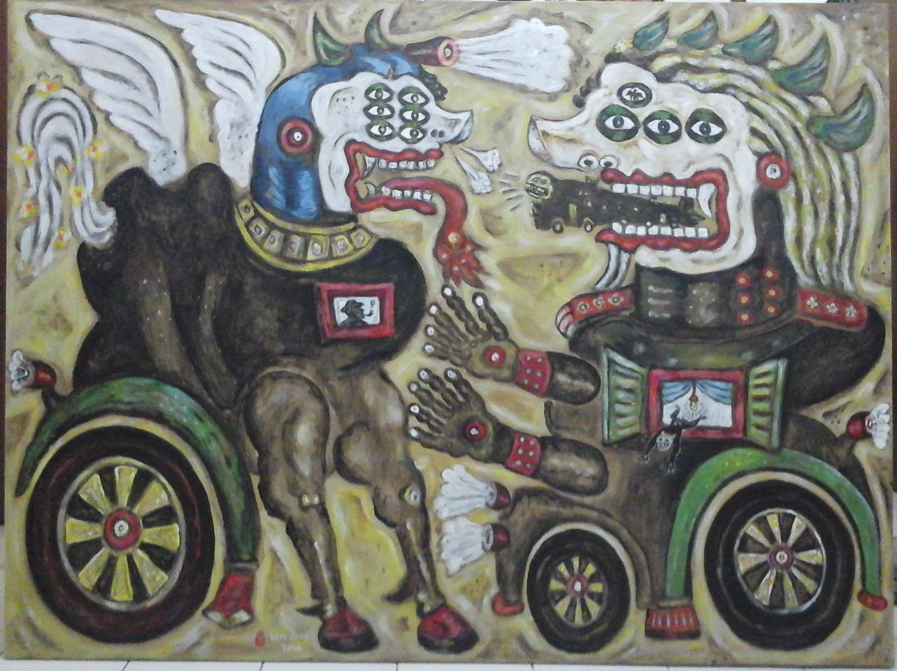 Heri Dono - Trokomod Keluar dari  Mulut Singa - 200 x 150 cm - 2016 - Aoc