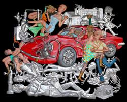 Exotic Land  - 195  x 247 cm - 2016 - Aluminum ,Resin,Colour Pigment,Thread, Car Paint