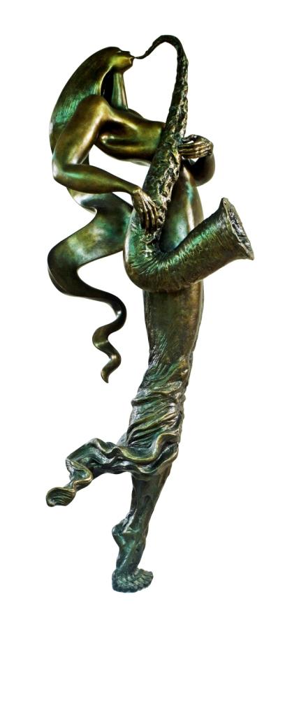 Win Dwi Laksono,Saxophonist #2,  233x90x75cm, bronze, 2017, 5edisi,