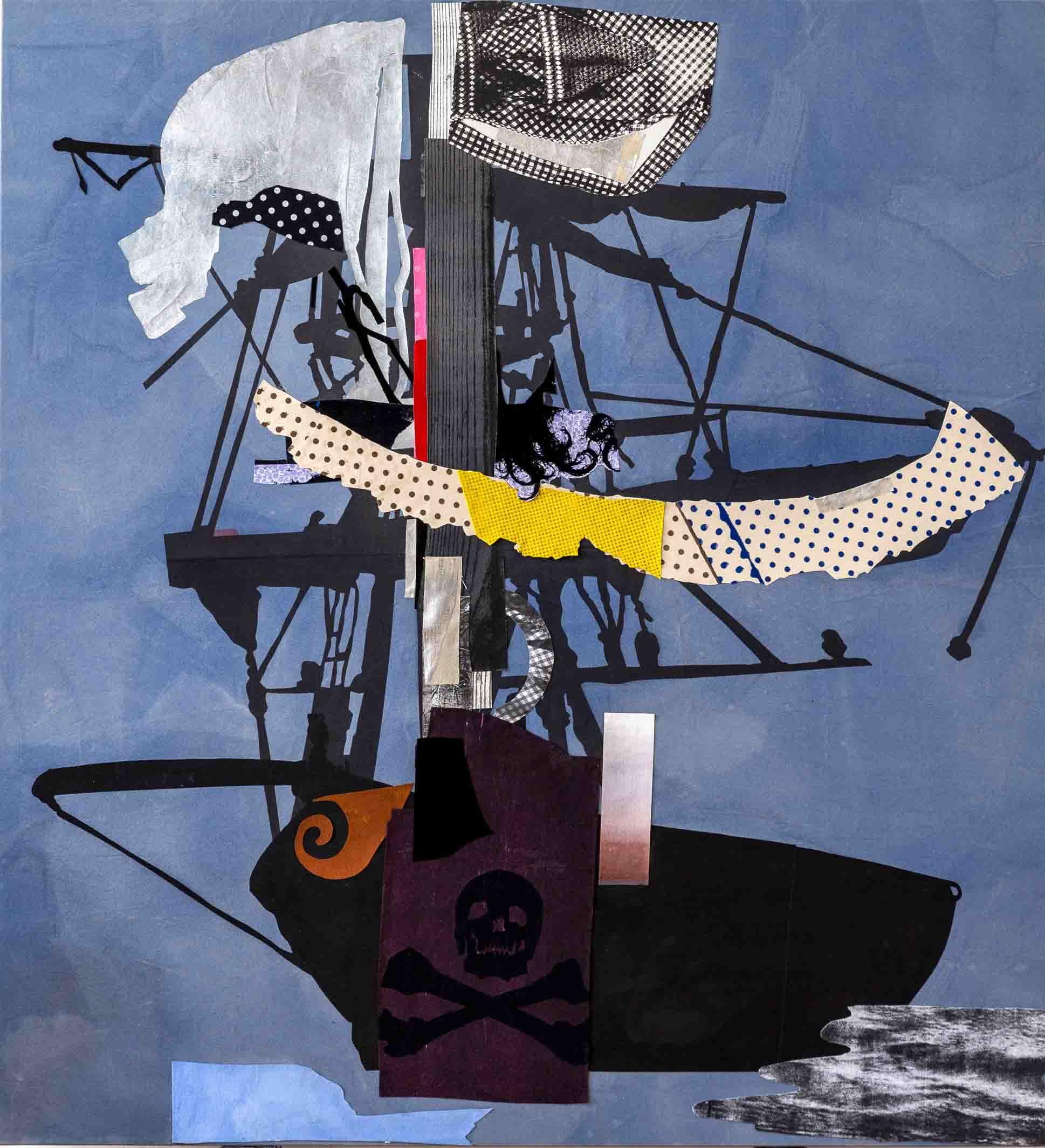 Sally Smart -The Exquisite Pirate  Ship Oceania -silver-flag- 182 x 167 cm