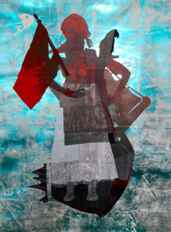 Sally Smart - The Equisite Pirates  ( red,hair,flag) - 195 x 145 cm - 2008 -2016 - Synthetic Polymer