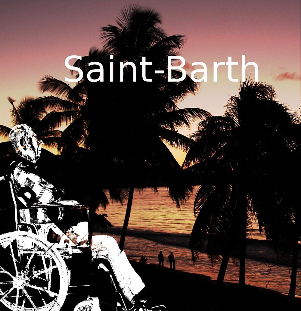 une plage tropicale au soleil couchant et un homme en fauteuil roulant