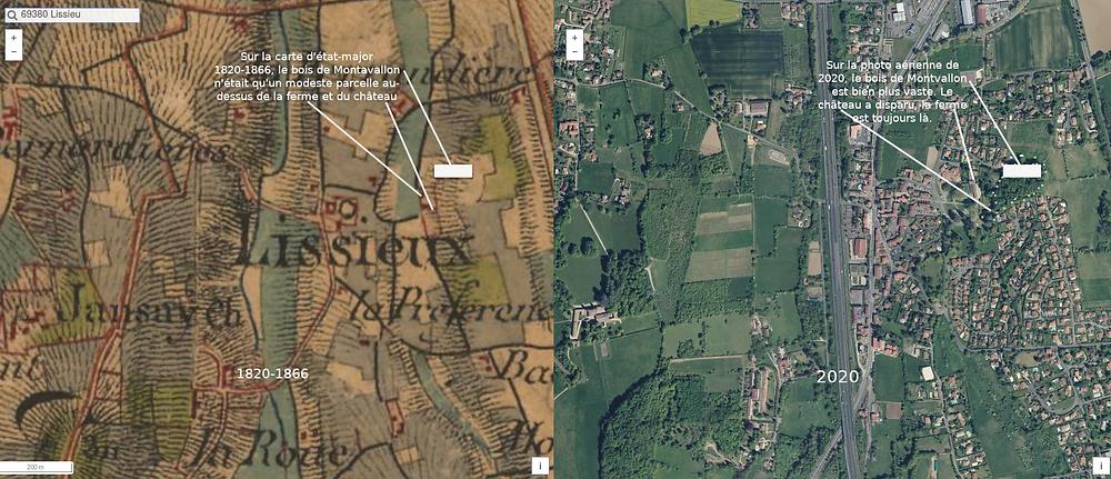 Lissieu comparaison carte 1820-1866 et photo aérienne 2020