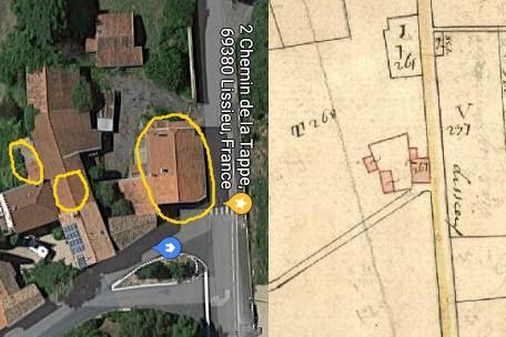 la buchette 1825 (cadastre napoléonien)-2015 (google maps)