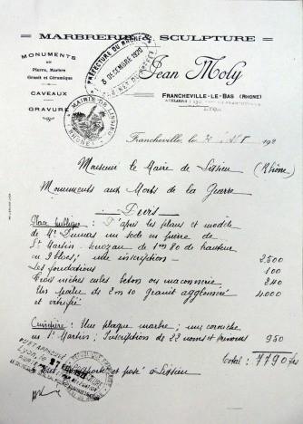 devis du monument aux morts de Lissieu 1920