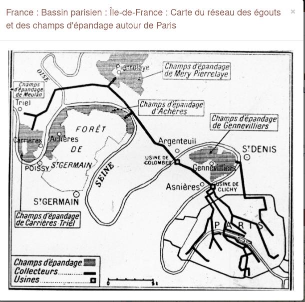 carte des réseaux des égouts et champs d'épandage autour de Paris