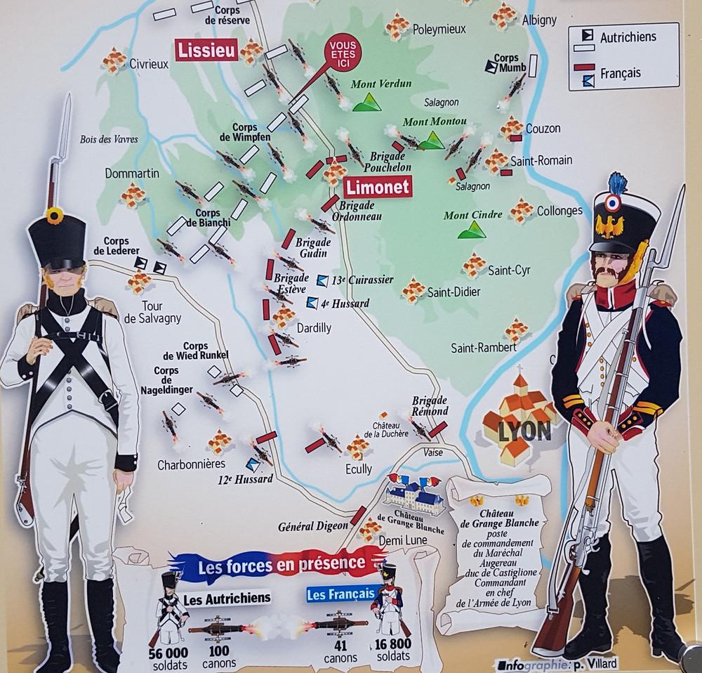 positions des français et des autrichiens à la bataille de Limonest en 1814