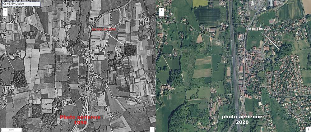 Lissieu comparaison photo 1950 et photo 2020