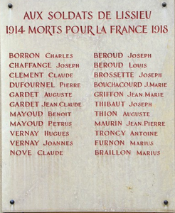 Aux soldats de Lissieu morts pour la France 14-18