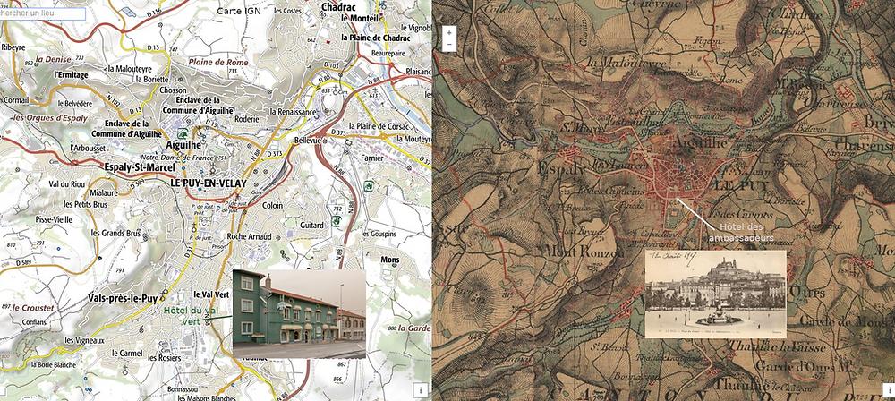 situation de l'hôtel des ambassadeurs en 1859 et de l'hôtel du Val vert en 2021