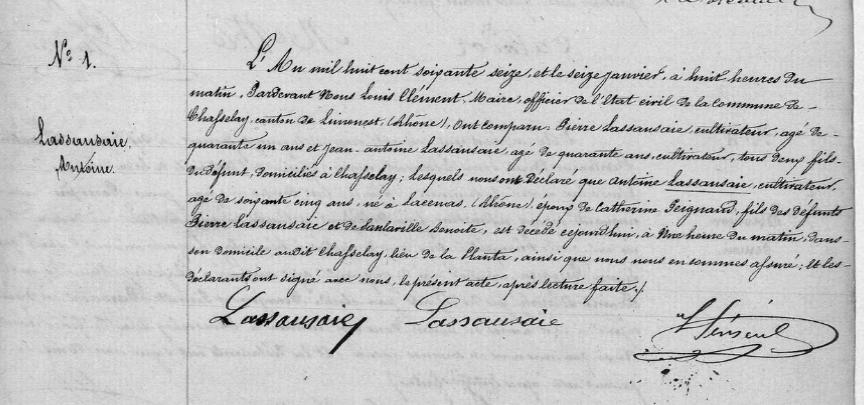 acte de décès du premier Lassausaie de Chasselay en 1876