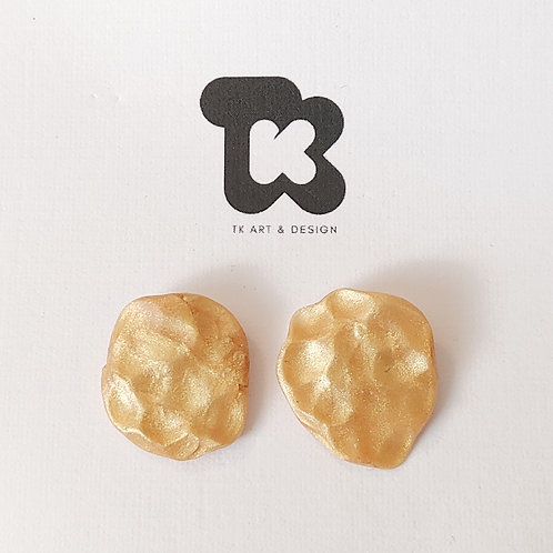 Hammered Gold Style Post Earrings