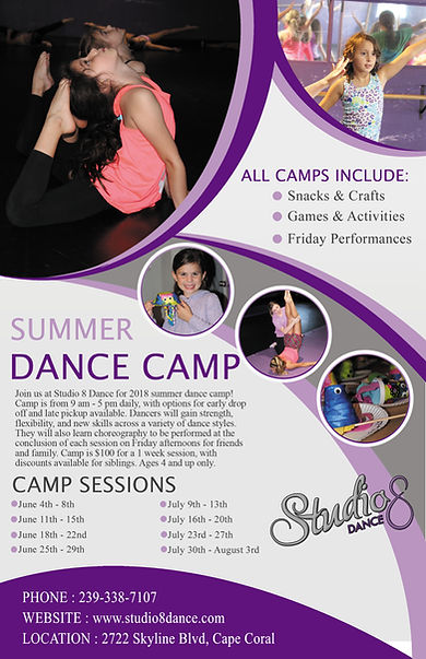 Dance Camp Flyer. Studio 8 Dance Camp