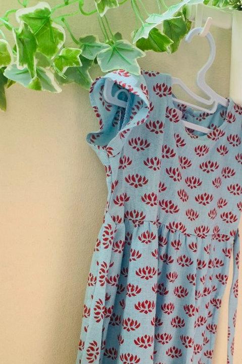 Powder Blue Organic Cotton Lotus Dress