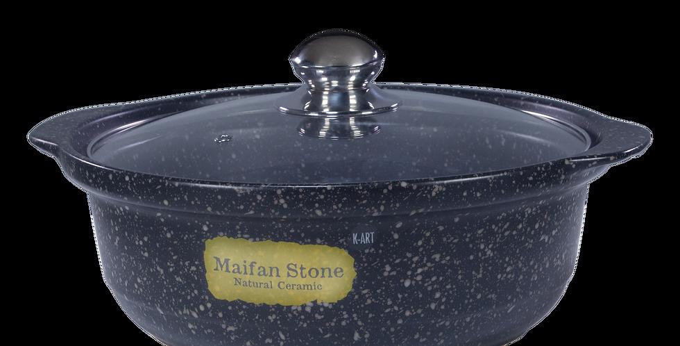 Ceramic Flat Pot (Glass Cover)