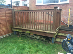 Decking with banister to be removed