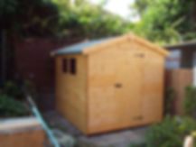 standard size shed assembled and construced up, felt attatched to shed roof with bitumen