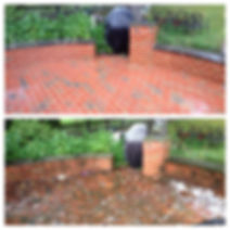 back patio and brickwork jet washed and cleaned of debris and moss, by my karcher patio washer