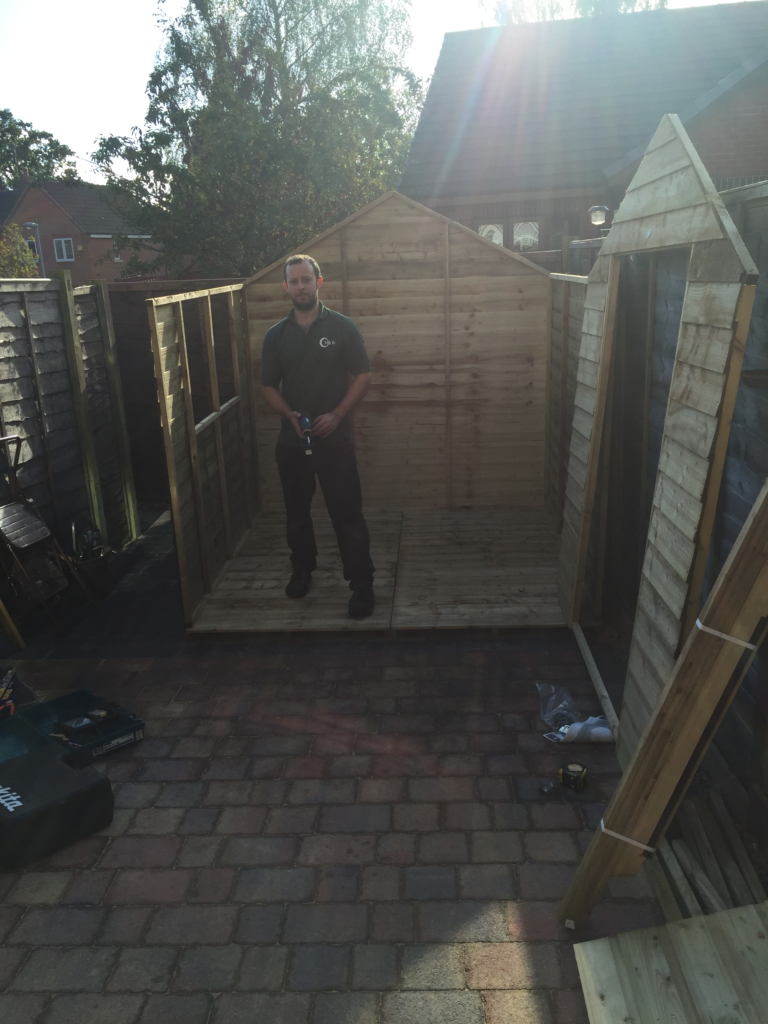 Full size shed half fitted together