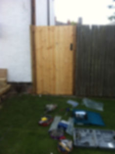 closedboard pine gate with latch pad bolt lock and inges fixed up in garden